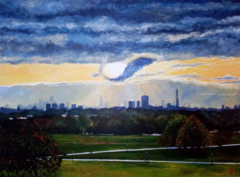 600 London, the sunrise and the dolphin cloud from Primrose Hill